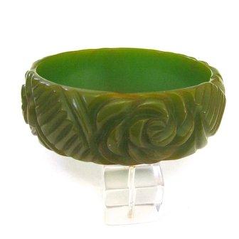 Green Bakelite Bangle Bracelet with Floral Carving