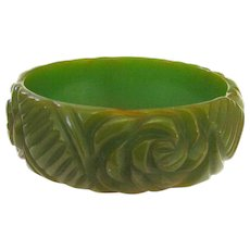 Green Bakelite Bangle Bracelet with Floral Carving