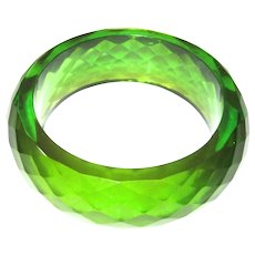 Well-Matched Pair of Chunky Faceted Prystal Bakelite Bangle Bracelets