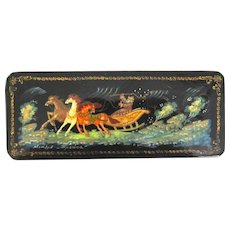"Russian Lacquer Box Vintage from Mstera ""Troika"""