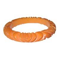 Butterscotch Floral Carved Bakelite Bangle Bracelet