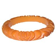 Butterscotch Floral Carved Bakelite Bangle Bracelet