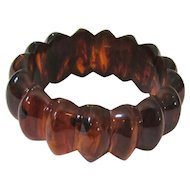 Chunky Deep Carved Root Beer Bakelite Bangle Bracelet Professionally Repaired