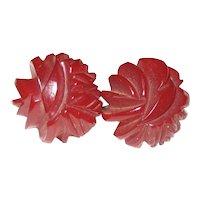 Translucent Dark Red Heavily Carved Bakelite Screw-back Earrings