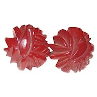 Translucent Dark Red Heavily Carved Bakelite Screw-back Earrings