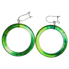 Transparent Ink Spot Marbled Bakelite Hoop Earrings