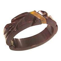 Deep Cranberry Carved Bakelite Hinge Clamper Bracelet