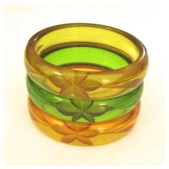Trio of Transparent Reverse-Carved Bakelite Prystal Bangle Bracelets