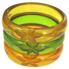 Trio of Transparent Reverse-Carved Bakelite Prystal Bangle Bracelets
