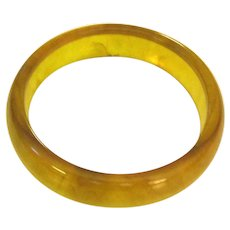 Lemon Yellow Transparent Marbled Bakelite Bangle Bracelet