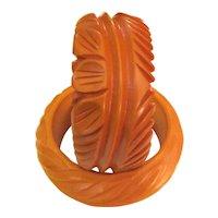 Wide Deeply Carved Bakelite Bangle Bracelet