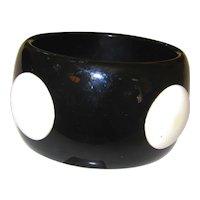 Huge Vintage Black Lucite Bangle with White Dots