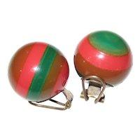French Multi-Color Laminated Bakelite Clip Earrings