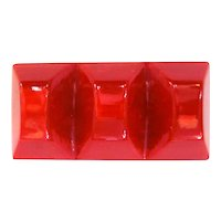 Chunky Red Marbled Bakelite Pin Brooch Toblerone Shape