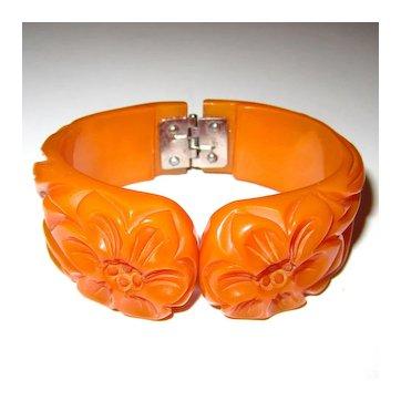 Deeply Carved and Pierced Bakelite Hinge Bracelet
