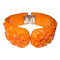 Deeply Carved and Pierced Bakelite Hinge Bracelet