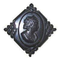 Carved  Bakelite Cameo Pin Brooch