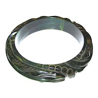 Heavily Deeply Carved Blue Moon Bakelite Bangle Bracelet