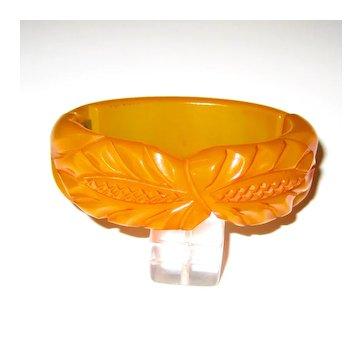 Carved Butterscotch Bakelite Hinge Bracelet Clamper