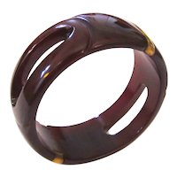 Dark Red Carved and Pierced Vintage Bakelite Bangle