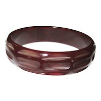 Trranslucent Carved Vintage Bakelite Bangle Bracelet