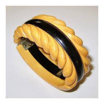 Two-Color Laminated Carved Bakelite Hinge Clamper Bracelet