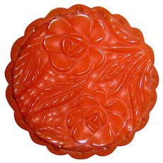Large Carved and Pierced Bakelite Pin Brooch