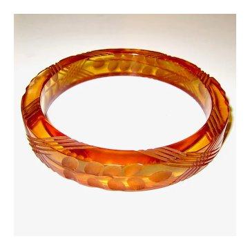 Reserved for Melanie  Delicate Carved Apple Juice Bakelite Bangle Bracelet