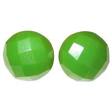 Green Facetted Bakelite Earrings -- Screw-back