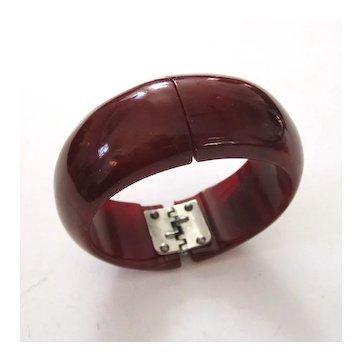 Warm Dark Red Marbled Vintage Bakelite HInge Clamper Bracelet