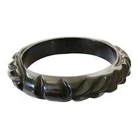 Black Carved Vintage Bakelite Bangle Bracelet