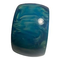 Spectacular Wide Blue Moon Bakelite Bangle Bracelet