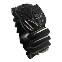 Bold Black Carved and Pierced Bakelite Bangle Bracelet