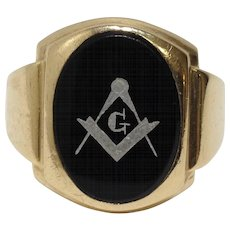 10k Black Onyx Mason Masonic Ring Size 9.5 Yellow Gold