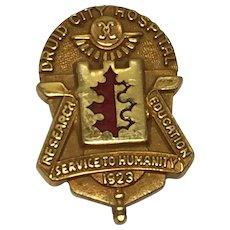 Vintage 10k Yellow Gold 1923 Druid City Hospital Service Pin