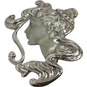 Sterling Art Nouveau Lady's Face Brooch/Pendant