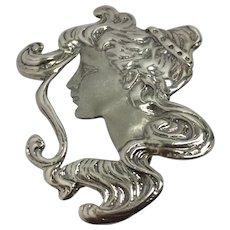 Sterling Art Nouveau Lady's Face Brooch/Pendant
