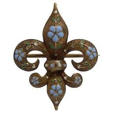 14k Yellow Gold Fleur De Lis Blue & Green Leaf Enamel Watch Fob Hanger/Pin/Brooch/Pendant