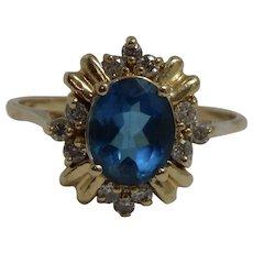 14k Yellow Gold London Blue Topaz & Diamond Ring Size 13