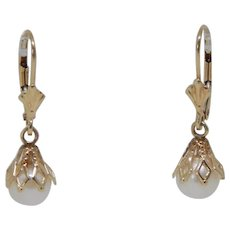 14k Yellow Gold Cultured Pearl Dangle Earrings By Carla