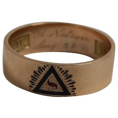 14k Yellow Gold Scottish Rite Masonic Ring Band Size 11