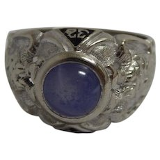14k White Gold 32nd Degree Scottish Rite Masonic Ring with Blue Star Sapphire Size 9