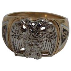 10k Yellow Gold 32nd Degree Scottish Rite Ring  Size 10