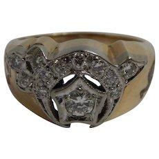 10k Yellow Gold Diamond Shriners Masonic Ring Size 11