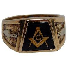 10k Yellow Gold Black Onyx Masonic Ring Size 11