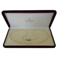 "Vintage Mikimoto Pearl 21"" Necklace Strand With Single Pearl Silver Clasp"