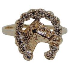 10k Yellow Gold Ladies Horse Head Horseshoe Ring Size 6.5