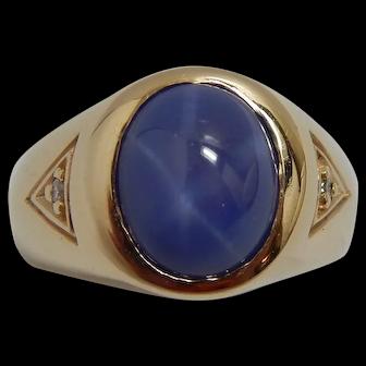 10k Yellow Gold Blue Star Sapphire & Diamond Ring Size 8.5