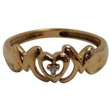 "10k Yellow Gold ""MOM"" Ring Size 7.25"