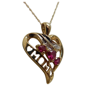 """10k Yellow Gold """"MOM"""" Heart Pendant/Necklace With Diamonds & Heart Cut Rubies"""